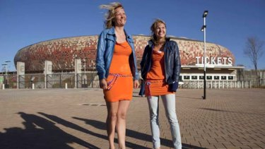 Caught in a storm ... these Netherlands fans were two of 36 female supporters questioned.