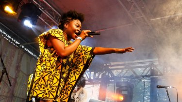 Sampa the Great performing last year. Her Sydney show was an expertly-woven tapestry of African-influenced neo-soul and hip-hop.