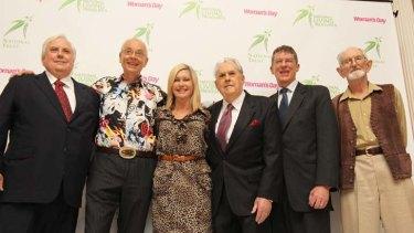 New 'Living National Treasures' Clive Palmer, Karl Kruszelnicki, Olivia Newton-John, Sir Jack Brabham, Ian Fraser and Harry Butler.
