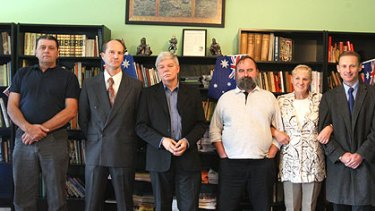 Members of the Australia First party, from left: Tony Pettitt, Rob Fraser, Jim Saleam, Alex Norwick, Marleen Rapp, and an organiser who would not be named, meet in Sydney.