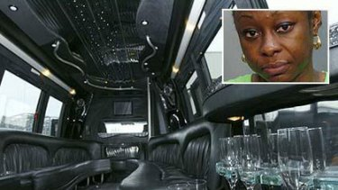 """The interior of the""""brothel-on-wheels"""" limo and, inset, Christine Morteh, who was arrested for alleged prostitution."""
