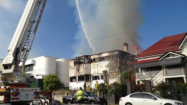 The heritage-listed Belvedere building burns at South Brisbane.