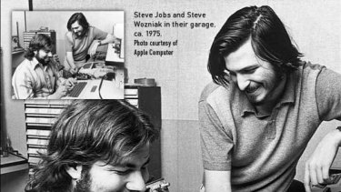 Apple founders Steve Jobs and Steve Wozniak tinker in their garage in 1975.