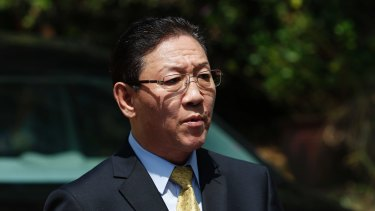 North Korea's Ambassador to Malaysia Kang Chol speaks to the media outside the North Korean Embassy in Kuala Lumpur.