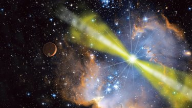An artist's conception of the  gamma ray burst close up. Observations suggest material was shot outwards in  two jets - the white and yellow beams.