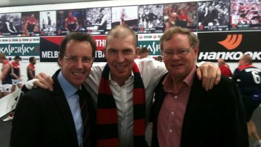 Great loss ... Melbourne Demons CEO Cameron Schwab, Jim Stynes and Don McLardy.