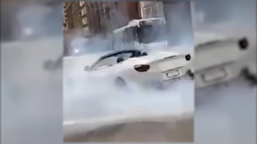 NSW police commenced an investigation after receiving footage of a Ferrari doing burnouts at the intersection of Phillip and Bent streets on Sunday 23 May 2021.