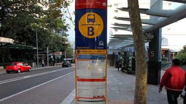Out with the old: Signage at a North Sydney bus stop.
