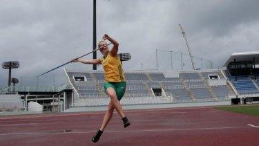 Javelin thrower Kelsey-Lee Roberts trains at Kimidera Athletics Stadium.