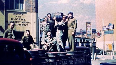 American G.I.s on the back of a Castlemaine Brewery truck in Charlotte Street, Brisbane, 1942.
