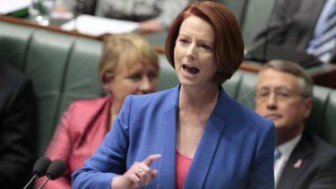 Prime Minister Julia Gillard during her now famous misogyny speech in federal parliament.