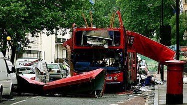 Terrorist attack ... the destroyed number 30 double-decker bus in Tavistock Square in London, which Richmal Oates-Whitehead falsely claimed to have boarded.
