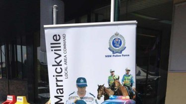 Guess who's responsible for crime ... The Marrickville police sign that's caused such a stir.