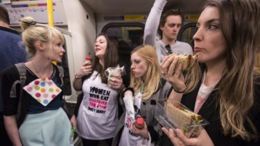 The women protesters intended, by eating publicly and without apology, to defy the casual voyeurism of the Facebook page.