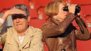Moonee Valley Trackwork. trainer Gai Waterhouse  with her  husband Robbie.