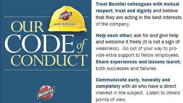 Excerpt from the code of conduct from US construction
