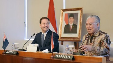 Trade talks: Australian Trade Minister Steve Ciobo pictured with Indonesian Trade Minister Enggartiasto Lukita in Jakarta.