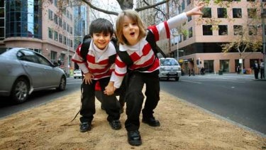 Abbas and Killian both 5, at the front of the new Melbourne City School in King Street.