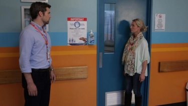 Nina Proudman (Asher Keddie) gets some shocking news from Leo Taylor (Patrick Brammall).