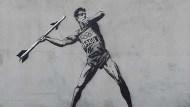 Mystery ... Banksy's Olympic-themed stencil at an undisclosed location.