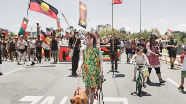 The 'invasion day' protest in Canberra on Friday.