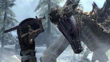 Battling dragons... Skyrim.