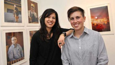 Pia Johnson and Sarah Anderson  with their exhibition on Melbourne's religious diversity.