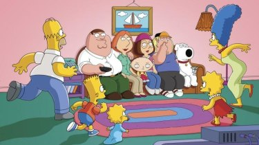 Crowded house: The Griffin family drops in for a visit with the Simpson family.