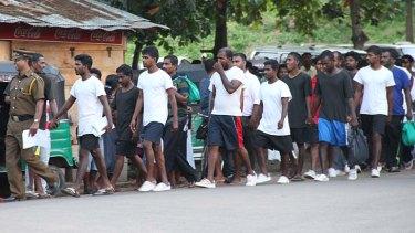Returned Sri Lankans in Negombo.
