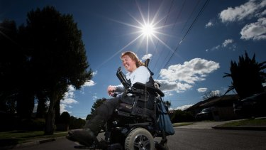 Beth Barnard has cerebral palsy and has been the subject of a fraud carried out by her mum. The mum has been siphoning Beth's welfare payment out of her bank account, which Beth didn't even know she had. The Financial Ombudsman has just ruled that the bank, Commonwealth Bank, has to pay the six-figure sum back, because they didn't do the necessary checks and balances. Beth now finally has her own money and has dyed her hair red and is thinking of buying an accessible car so that she can be independent. 23rd August 2016. Photo b y Jason South