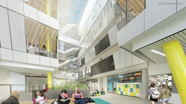 An artists impression of the new high school for Prahran