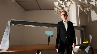 "Protest letter: Turner Prize winner Martin Boyce with his installation, ""Do words have voices""."
