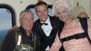 Killed: James Bond stunt double Mark Sutton, centre.