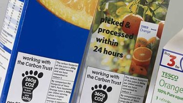 Drink with confidence ... the Carbon Trust logo on a fruit juice.