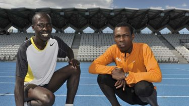 Kenyan Runners Reuben Seroney, left and Bedan Karoki at the new State Athletics Stadium in Albert Park.