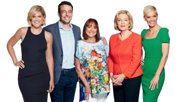 Studio 10's team, from L-R, Sarah Harris, Joe Hildebrand, Denise Drysdale, Ita Buttrose and Jessica Rowe.