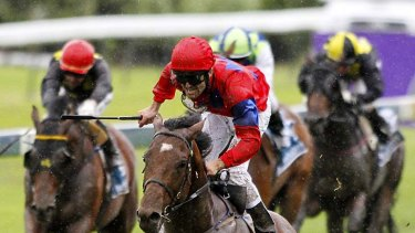 In the bank: Jonathan Riddell lands the New Zealand Derby on Jimmy Choux last month.