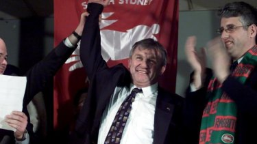 Pappas with George Piggins after their famous court victory over News Ltd.