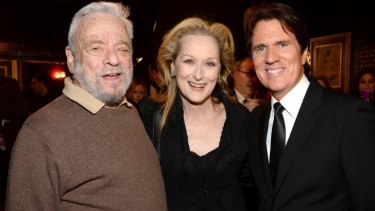 Stephen Sondheim, Meryl Streep and director Rob Marshall attend the world premiere of <i>Into the Woods</i> on December 8 in New York City.