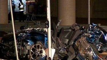 Frame grab from Ten News showing scene and victims of car accident in Goodna, Queensland 8 April 2011.