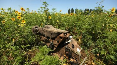 A pilot seat at the crash site of MH17.