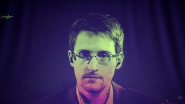 Edward Snowden speaking to European officials by videoconference link in June.