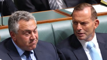 Prime Minister Tony Abbott and Treasurer Joe Hockey in question time on Monday.