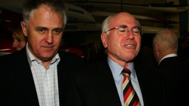 Then environment minister, Malcolm Turnbull with then prime minister, John Howard, in 2007.