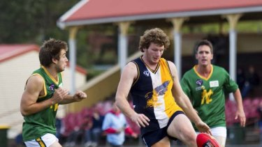Running free: Ararat Eagle Richard O'Connell gets a kick away during a recent match against Navarre.