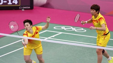 Controversy ... China's Wang Xiaoli, right. and Yu Yang