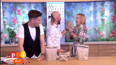 Shocking outcome ... <i>Question for Breakfast</i> host Marzena Rogalska screams after impaling her hand on a nail after a guest magician messed his trick up.