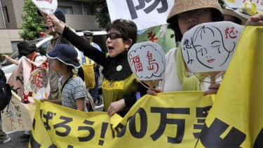 Women from Fukushima rally against nuclear power plants.