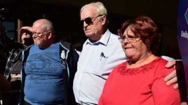 Ashley Kennedy, Blacktown councillor Tony Bleasdale and Peta Kennedy at the SBS protest on Wednesday.