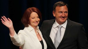 Prime Minister Julia Gillard with partner Tim Mathieson at the Melbourne Convention Centre